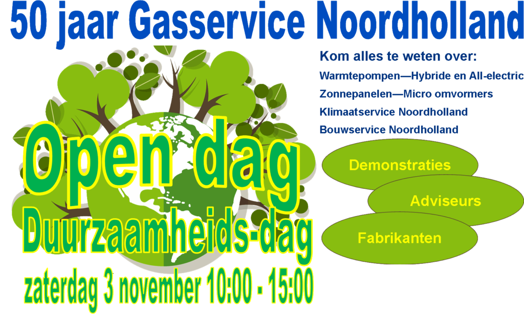 Banner 50 jaar Gasservice Noordholland open dag op 3 november 2018